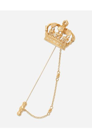 Dolce & Gabbana Jewelry - Crown stick pin brooch in yellow and white with curly thread embellishments and sphere male OneSize