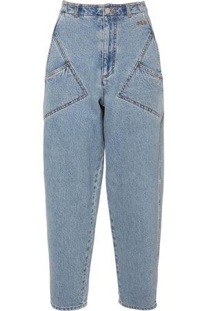 Serafini Cotton Denim High Rise Jeans