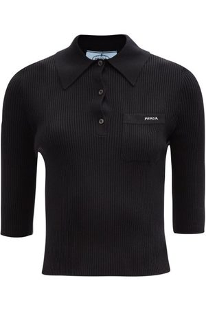 Prada Logo-embroidered Rib-knitted Wool Polo Shirt - Womens