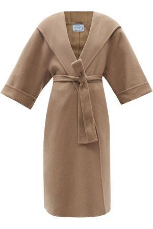 Prada Belted Hooded Cashmere Coat - Womens - Camel