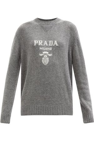 Prada Logo-plaque Wool-blend Sweater - Womens