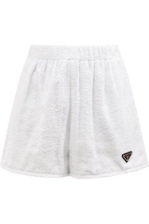 Prada Triangle Logo-plaque High-rise Cotton-terry Shorts - Womens
