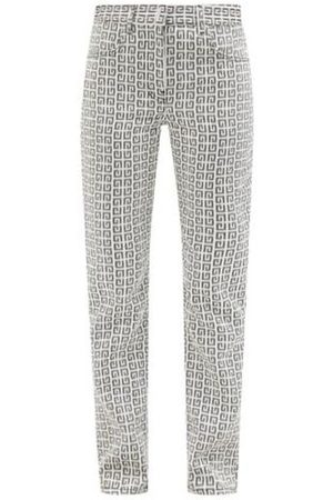 Givenchy 4g-jacquard Straight-leg Canvas Trousers - Womens