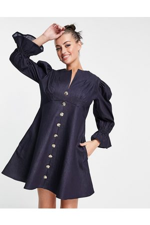 Ghospell Mini dress with puff sleeves and buttons in navy