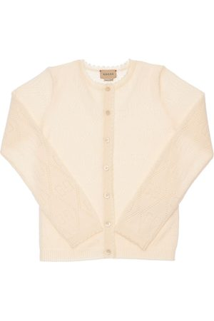 Gucci Gg Perforated Wool Knit Cardigan