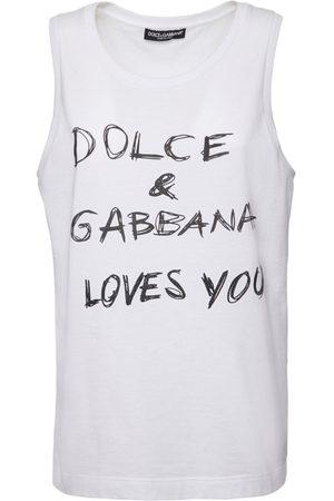 Dolce & Gabbana Dg Loves You Print Cotton Poplin Top