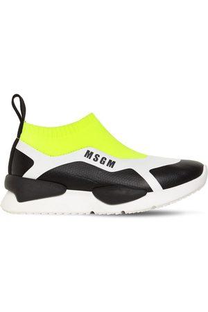 Msgm Logo Color Block Knit Sock Sneakers
