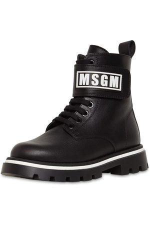 Msgm Logo Leather Combat Boots