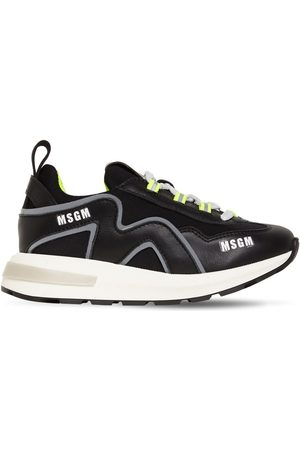 Msgm Leather & Neoprene Lace-up Sneakers