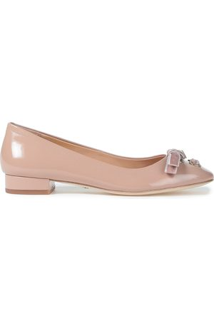 Coach Women Ballerinas - Woman Bow-embellished Patent-leather Ballet Flats Blush Size 10