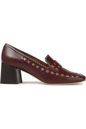 TORY BURCH Women Loafers - Woman Ruby Studded Leather Loafers Burgundy Size 10