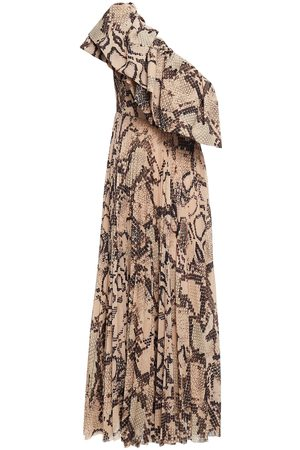 SOLACE LONDON Woman Rosa One-shoulder Ruffled Pleated Snake-print Crepe Maxi Dress Sand Size 10