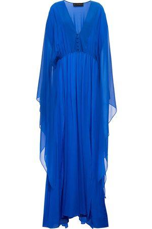 DUNDAS Woman Gathered Silk-georgette Gown Cobalt Size 38
