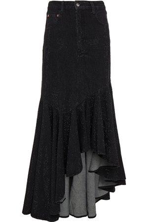 SOLACE LONDON Women Midi Skirts - Woman Elita Ruffled Sequined Denim Midi Skirt Size 10