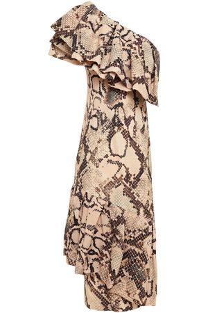 SOLACE LONDON Woman Heppy One-shoulder Snake-print Crepe De Chine Midi Dress Size 10