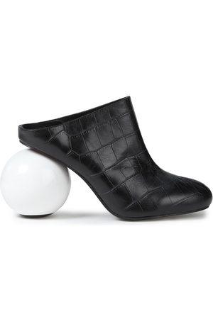 SOLACE LONDON Woman Croc-effect Leather Mules Size 37