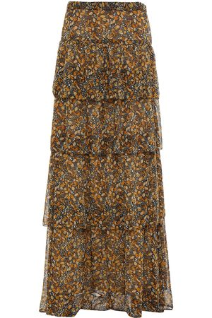 Bash Woman Sibil Tiered Printed Georgette Maxi Skirt Charcoal Size 0