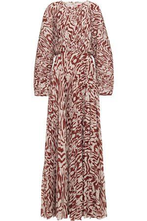 SOLACE LONDON Woman Taima Printed Plissé-crepe Maxi Dress Neutral Size 8