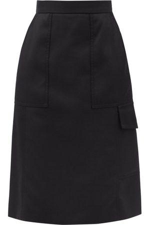 Moncler Flap-pocket Gabardine Midi Skirt - Womens