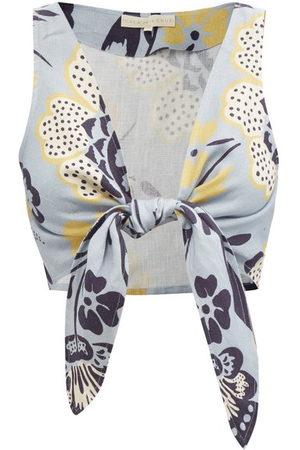 Cala De La Cruz Lola Tie-front Floral-print Linen Cropped Top - Womens - Print