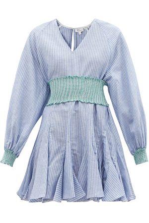 Rhode Ella Flared Striped Cotton-blend Hopsack Dress - Womens - Stripe