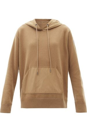 Moncler Logo-patch Panelled Wool-blend Hooded Sweater - Womens - Camel
