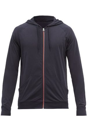 Paul Smith Stripe-zip Cotton-jersey Hooded Sweatshirt - Mens - Navy