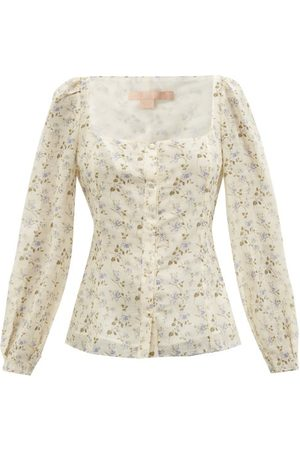 BROCK COLLECTION Thelma Floral-print Linen-blend Top - Womens