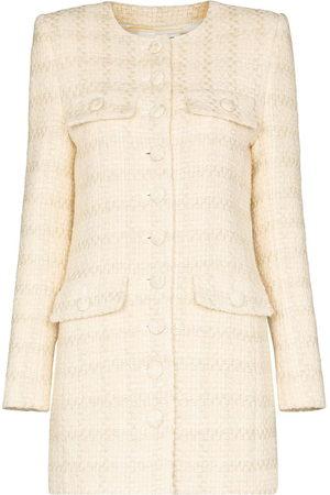 Saint Laurent Collarless long line blazer jacket - Neutrals