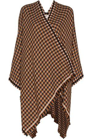 Fendi Women Ponchos & Capes - Check wool poncho