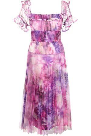 Marchesa Notte Off-shoulder printed chiffon dress