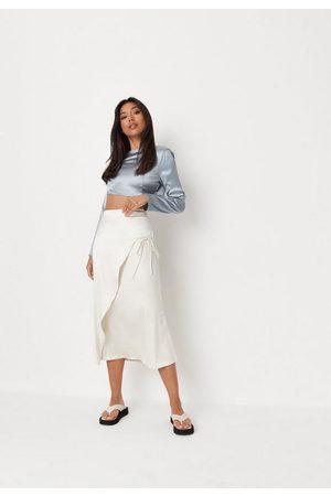 Missguided Cream Satin Tie Side Midi Skirt, Cream