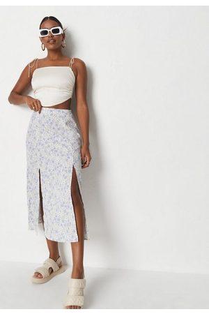 Missguided Blue Floral Print Side Split Midaxi Skirt