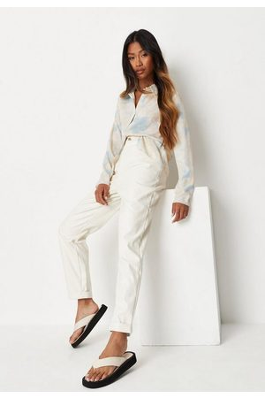 Missguided Women Trousers - Cream Faux Leather Turn Up Cigarette Trousers, Cream