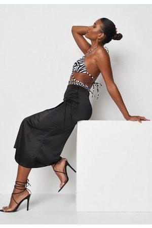 Missguided Tall Satin Tie Side Midi Skirt
