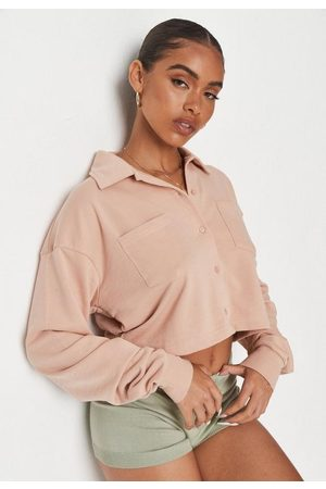 Missguided Blush Loopback Button Through Sweatshirt