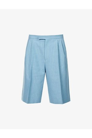 Gucci Pinstriped wool and linen-blend shorts