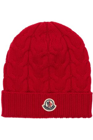 Moncler Cable Logo Virgin Wool Knit Beanie Hat