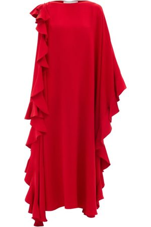 VALENTINO Waterfall-flounce Cape-sleeve Silk-crepe Gown - Womens