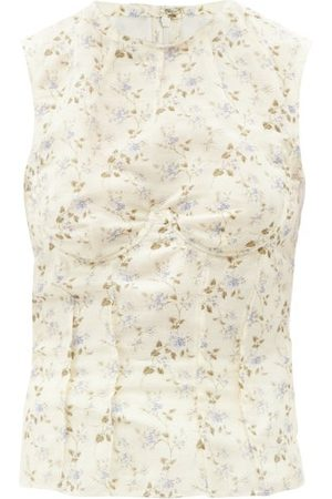 Brock Collection Thao Floral-print Linen-blend Top - Womens