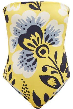 Cala De La Cruz Alison Strapless Floral-print Swimsuit - Womens - Print