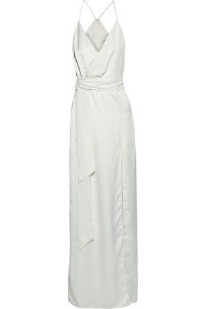 HALSTON Women Evening Dresses - Woman Wrap-effect Crepe-paneled Satin Gown Cream Size 0