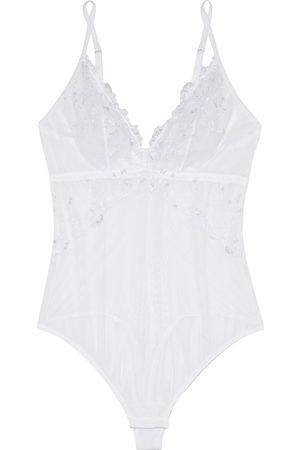 Cosabella Woman Selita Embroidered Stretch-mesh Thong Bodysuit Size L