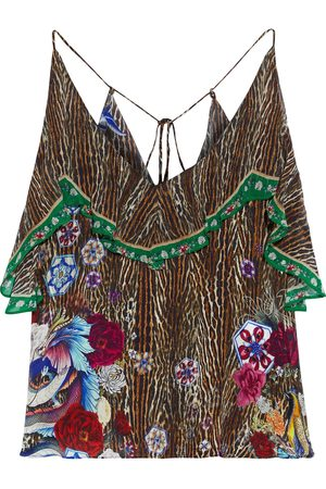 CAMILLA Women Singlets - Woman Ruffled Georgette-paneled Printed Silk Crepe De Chine Camisole Animal Print Size L