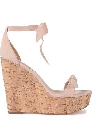 ALEXANDRE BIRMAN Women Sandals - Woman Clarita Bow-embellished Suede Wedge Sandals Blush Size 40.5
