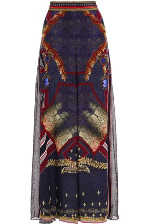 Camilla Women Wide Leg Trousers - Woman Printed Silk Crepe De Chine And Voile Wide-leg Pants Midnight Size L