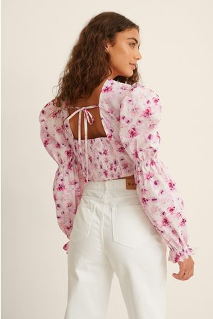 NA-KD Recycled Cropped Open Back LS Blouse - Pink