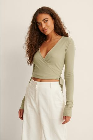 NA-KD Recycled Ribbed Wrap Top - Green