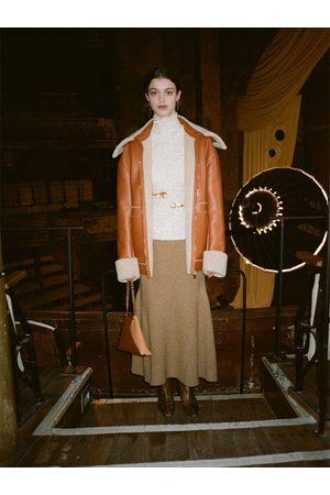 Nanushka Alyna Knitted Rib Wool Blend Midi Skirt