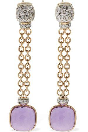 Pomellato Nudo 18kt Earrings W/amethyst & Diamond
